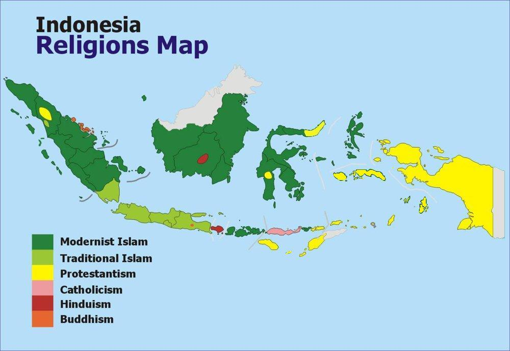 Indonesia Religion Map a Map of Indonesia Showing The